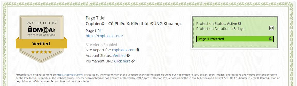 CophieuX - Xác nhận đăng ký DMCA được 48 ngày - Tới thời điểm chụp ảnh